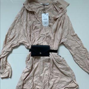 Zara size med long tan blouse.